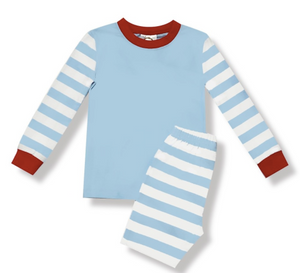 *PREORDER* Child Christmas Pajamas - Light Blue Solid Stripe