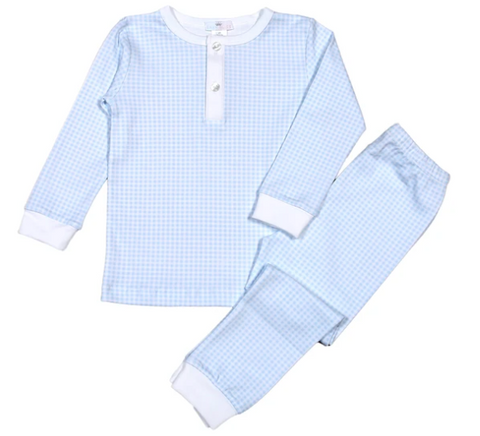 Gingham Pima Cotton Pajamas - 2 Piece Blue