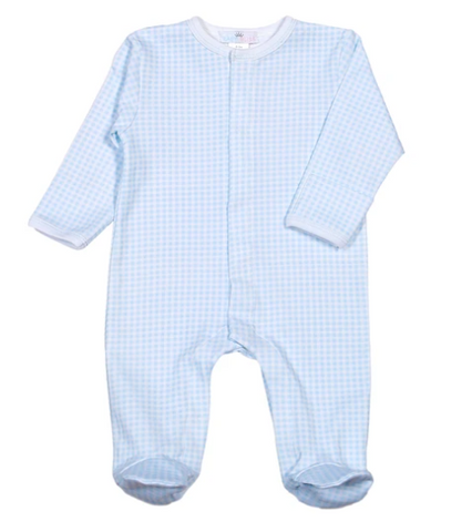 Gingham Pima Cotton Pajamas - 1 Piece Blue