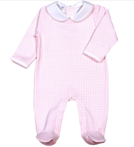 Gingham Pima Cotton Pajamas - 1 Piece Pink