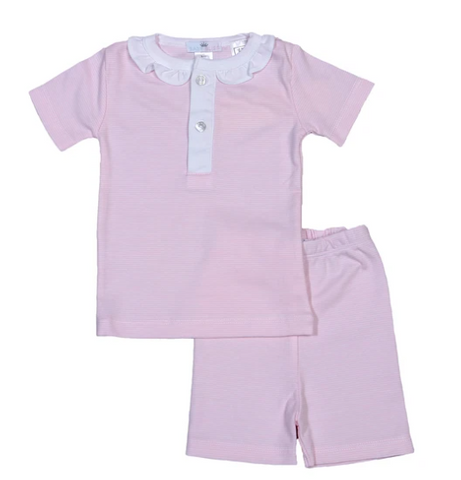 Stripe Pima Cotton Pajama Short Set - 2 Piece Pink