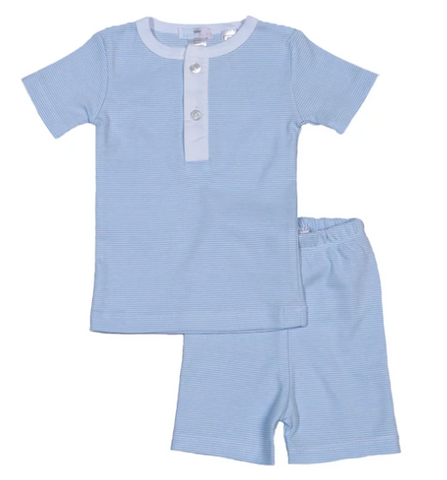 Stripe Pima Cotton Pajama Short Set - 2 Piece Blue