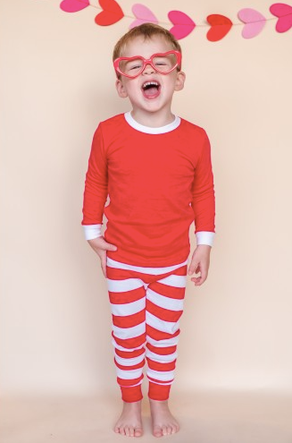 VALENTINE'S Pajama PRE-ORDER - Red + White Large Stripe
