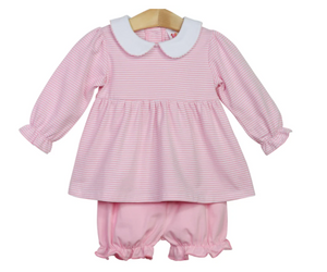 Long Sleeve Stripe Bloomer Set with Collar