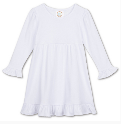 Girls Long Sleeve Ruffle Dress