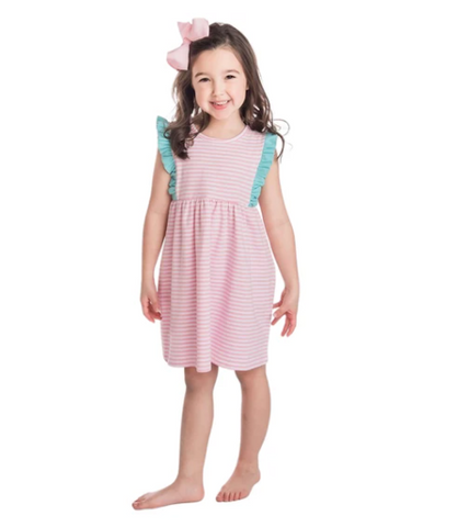Pink and White Striped Evie Dress