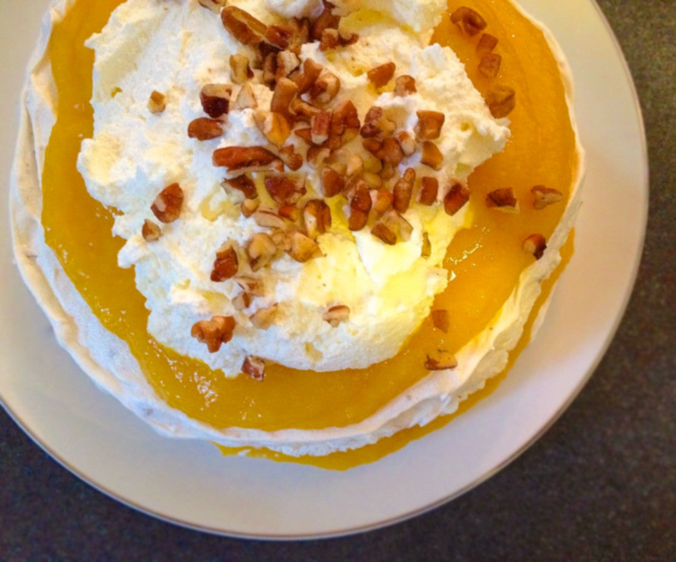 Recipe: Peaches & Cream Pecan Meringue Cake