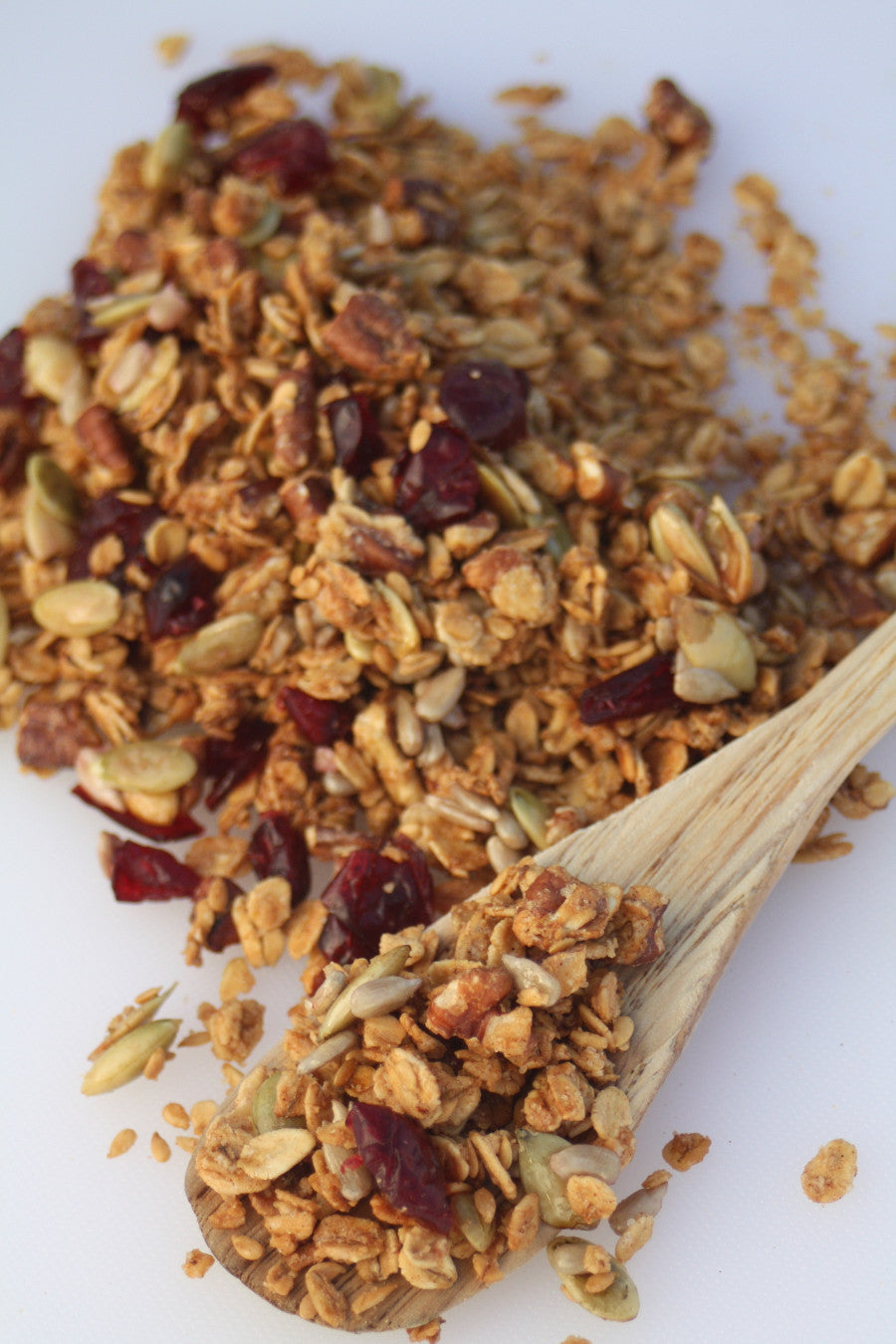 Our Cranberry Maple Pecan Granola is handcrafted here in our kitchen with high quality ingredients and no added preservatives, artificial flavoring, or trans fats.