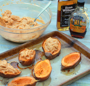 Twice Baked Sweet Potatoes from aspicyperspective.com