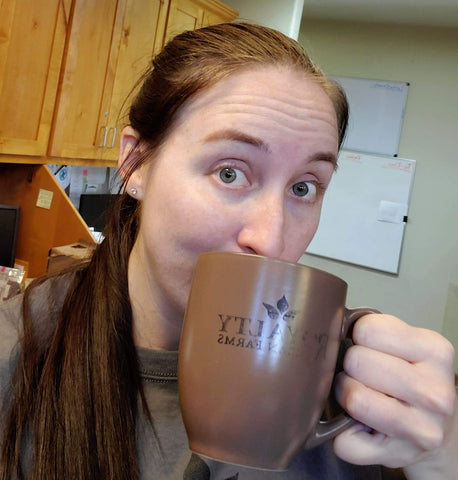 Enjoying a cup of Southern Pecan Coffee