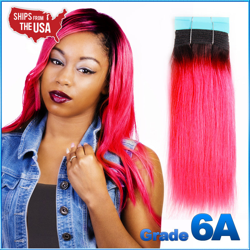 Grade 6a Thot Black Hot Pink Ombre Yaki Weaving 100 Remy