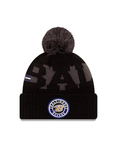Baltimore Ravens 2020 New Era On Field Sports Cuffed Pom Knit