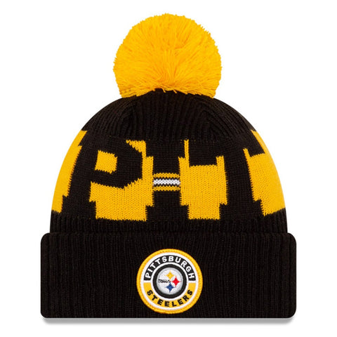 Pittsburgh Steelers 2020 New Era On Field Sports Cuffed Pom Knit