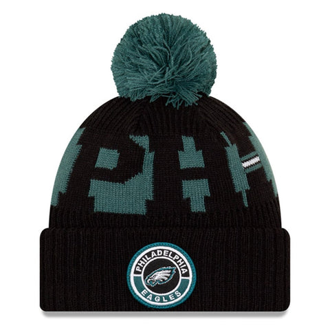 Philadelphia Eagles 2020 New Era On Field Sports Cuffed Pom Knit