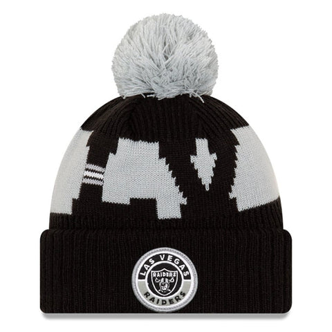 Las Vegas Raiders 2020 New Era On Field Sports Cuffed Pom Knit