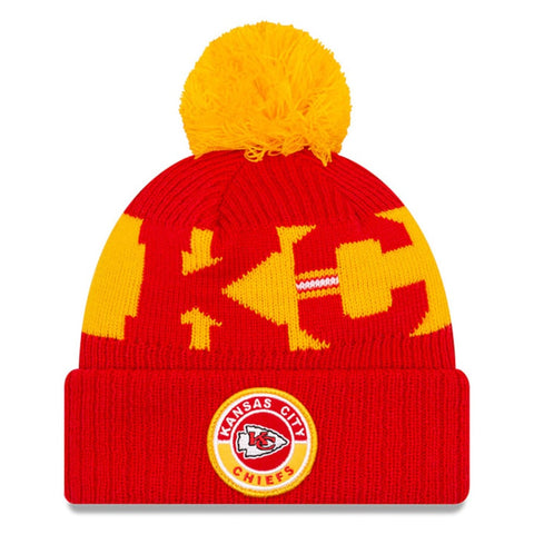 Kansas City Chiefs 2020 New Era On Field Sports Cuffed Pom Knit