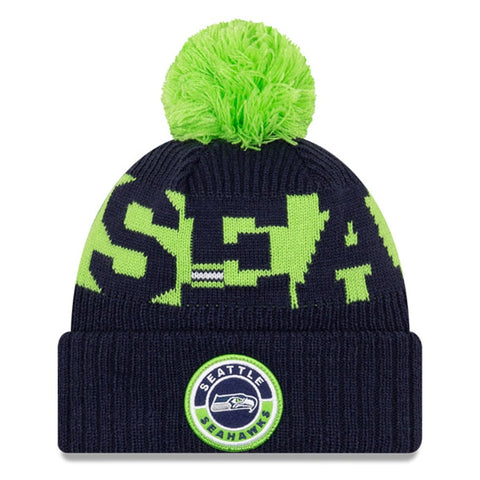 Seattle Seahawks 2020 New Era On Field Sports Cuffed Pom Knit