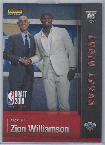 Zion Williamson 2019-2020 Panini Instant Draft Night RC #DN-ZW 1st Overall
