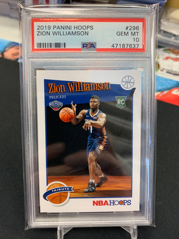 Zion Williamson 2019-20 Panini Hoops Tribute PSA 10 GEM MT