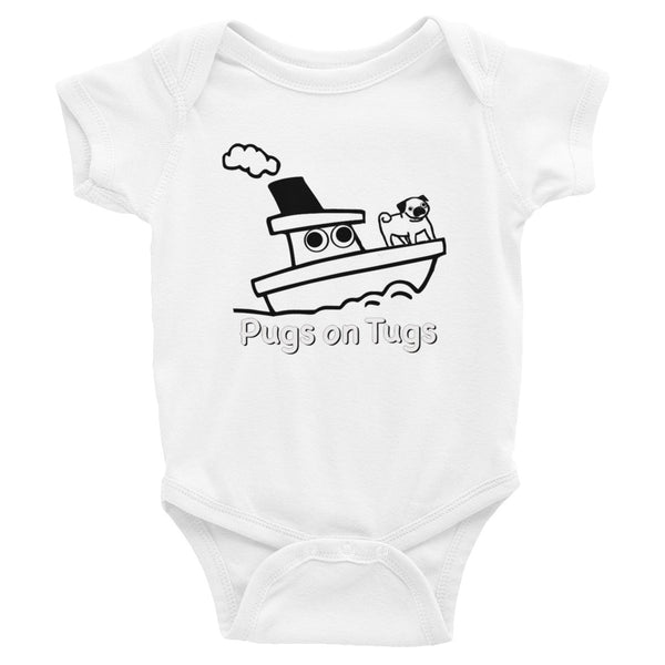 Pugs on Tugs Baby Bodysuit