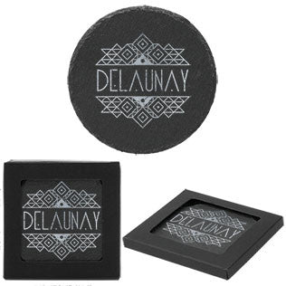 Natural Slate Round Coasters - Set of 4