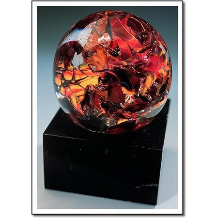 Autumn Leaves Glass Award With Marble Base