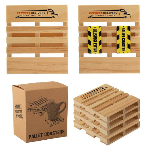 FSC-Certified Pine Wood Pallet Coasters - Set of 4
