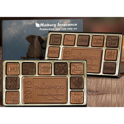 19-Piece Milk and Dark Chocolate Assortment in Customized Box