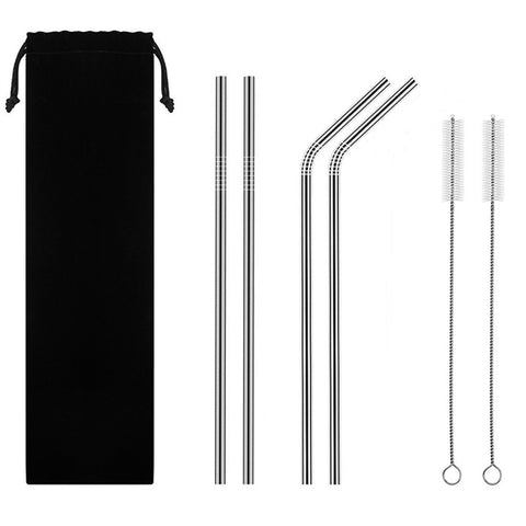 Reusable Stainless Steel Straws—Set of 4 Mixed with Brushes/Pouch