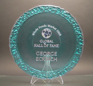 Dual-Textured Recycled Glass Circle Award