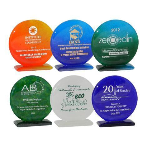 "5"" Round Glass Award on Base"