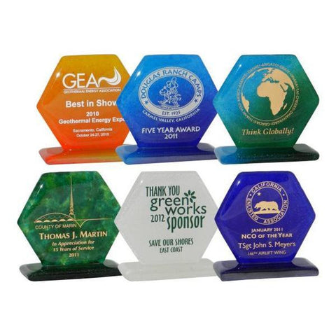 "4"" Hexagonal Glass Award on Base"