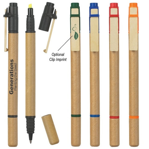 Paper Barrel Pen and Highlighter with Wooden Clip