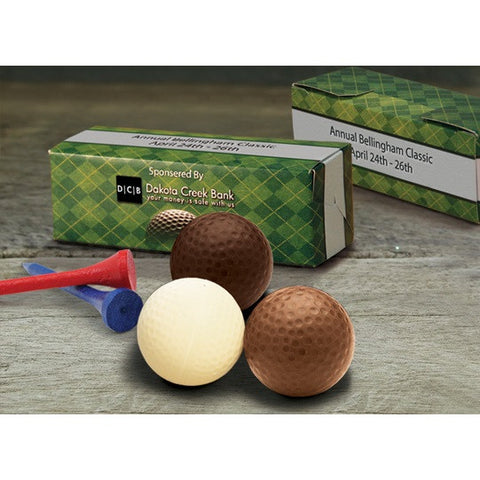 Custom Printed Golf Box with Belgian Chocolate Golf Balls