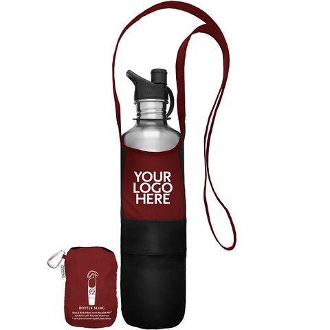 rPET Travel Bottle Sling with Stowaway Pouch