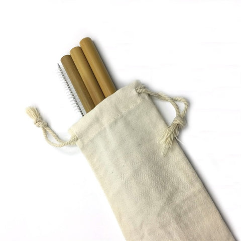 Set of 4 Organic Bamboo Drinking Straws with Cleaning Brush