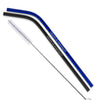 Black/Blue/Rainbow Color Stainless Steel Bent Straws - Set of 2