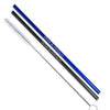 Black/Blue/Rainbow Color Stainless Steel Straight Straws - Set of 2