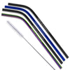 Black/Blue/Rainbow Color Stainless Steel Bent Straws - Set of 4