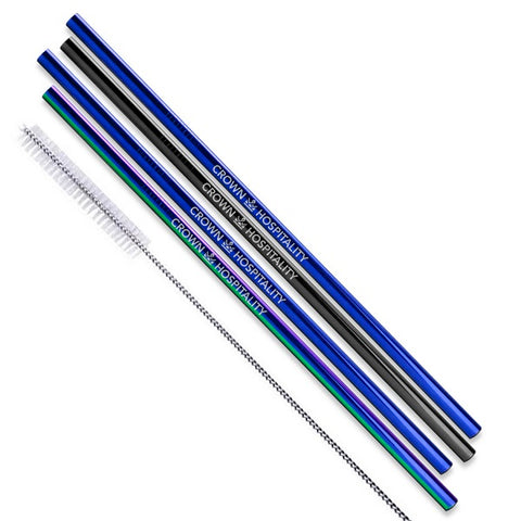 Black/Blue/Rainbow Color Stainless Steel Straight Straws - Set of 4