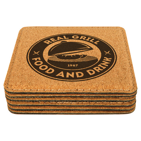 Premium Stitched Laser Etched Cork Coasters