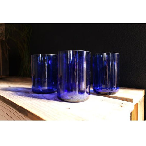 Cobalt Rocks Glasses Made of Wine Bottles - Set of 2, Engraved, in a Cardboard Box with Crinkle Paper
