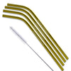 Gold and Copper Stainless Steel Bent Straws - Set of 4