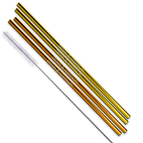 Gold and Rose Gold Stainless Steel Straight Straws - Set of 4