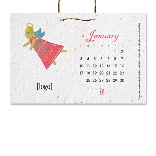 Seed Paper Hanging Calendar Small Or Medium Ecoplum Business Gifts