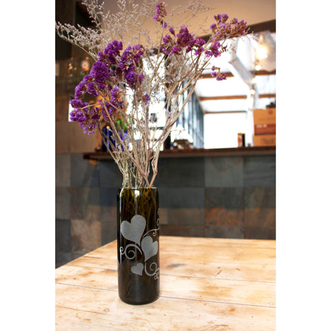 Vases from Recycled Wine and Liquor Bottles