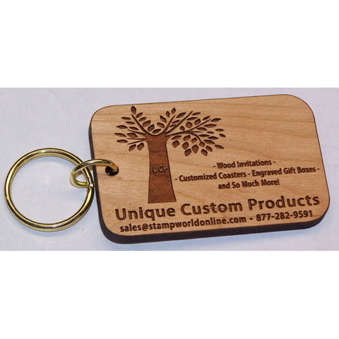 Rectangular Wooden Keychain