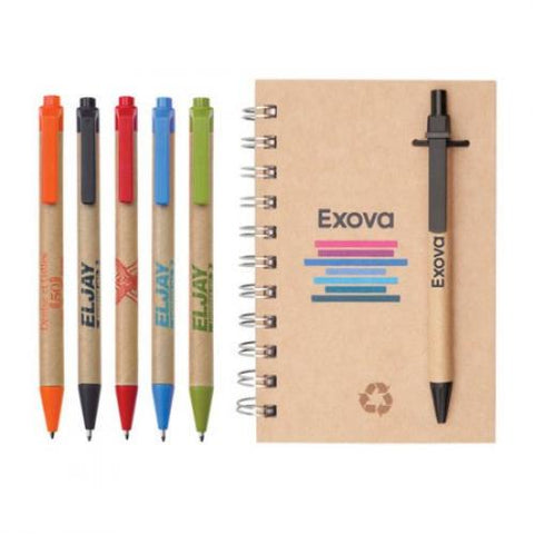 Recycled Paper Notepad with Recycled Paper Ballpoint Pen