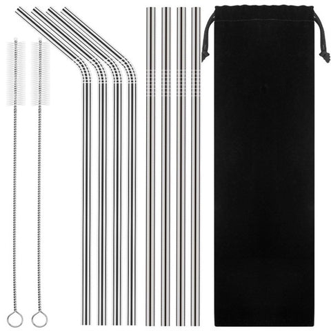 "10.5"" Stainless Steel Straws - Mixed Set of 8 with Cleaning Brushes/Pouch"