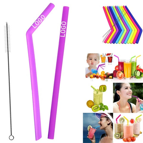 Silicone Drinking Straws - Set of 2